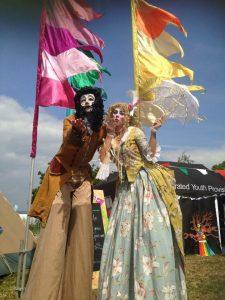 Festival stilt walkers