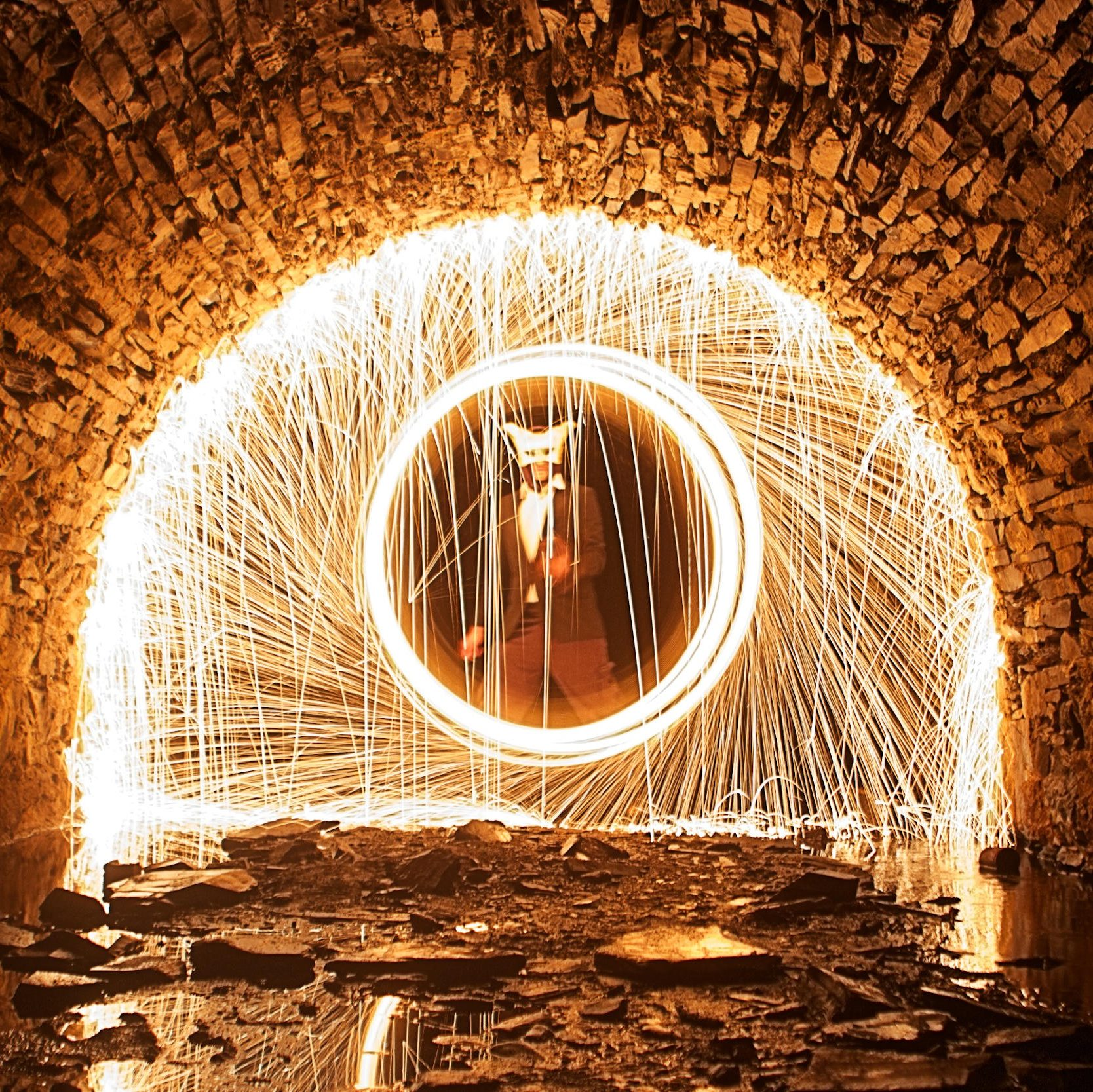 Iago fire show in tunnel