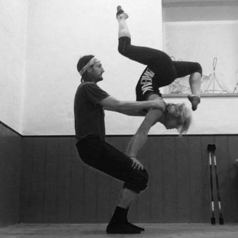 Lauren and Iago doing acro balance
