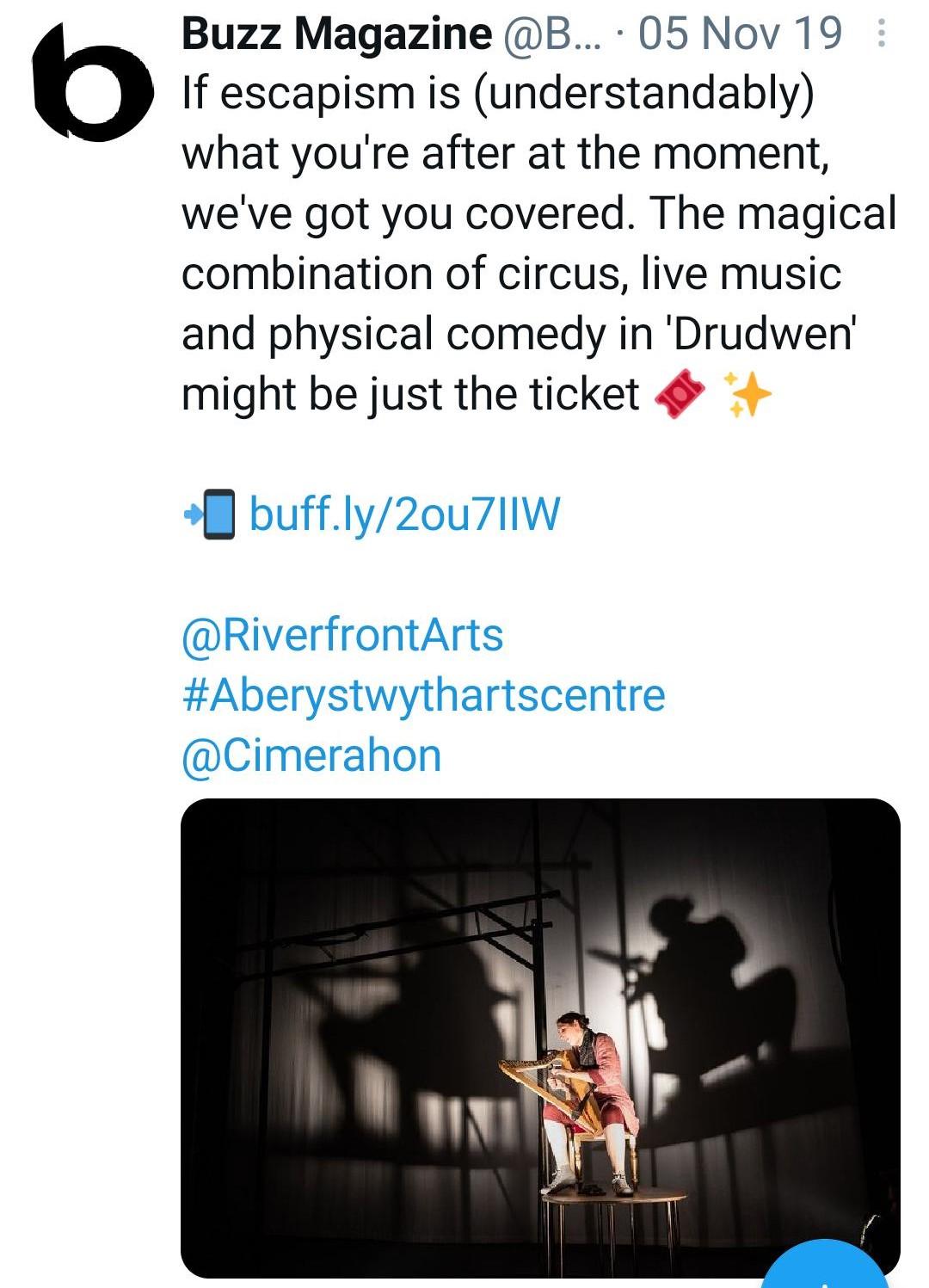 Buzz Magazine tweet about Drudwen